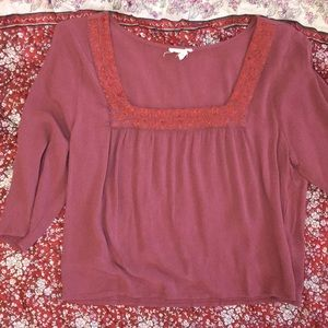 Peasant blouse with embroidered collar